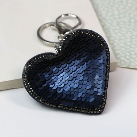SEQUIN HEART KEYRING BLUE